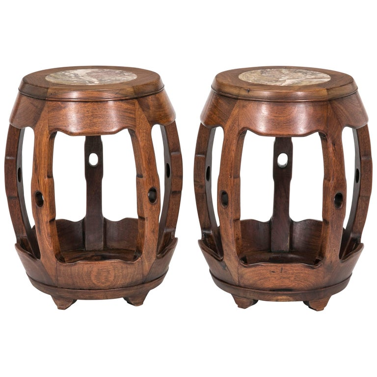 Mid Century Chinese Rosewood Garden Stools Or Tables With