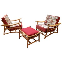 Pair of Rattan Lounge Chairs and Ottoman