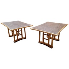 Pair of Rattan End Tables
