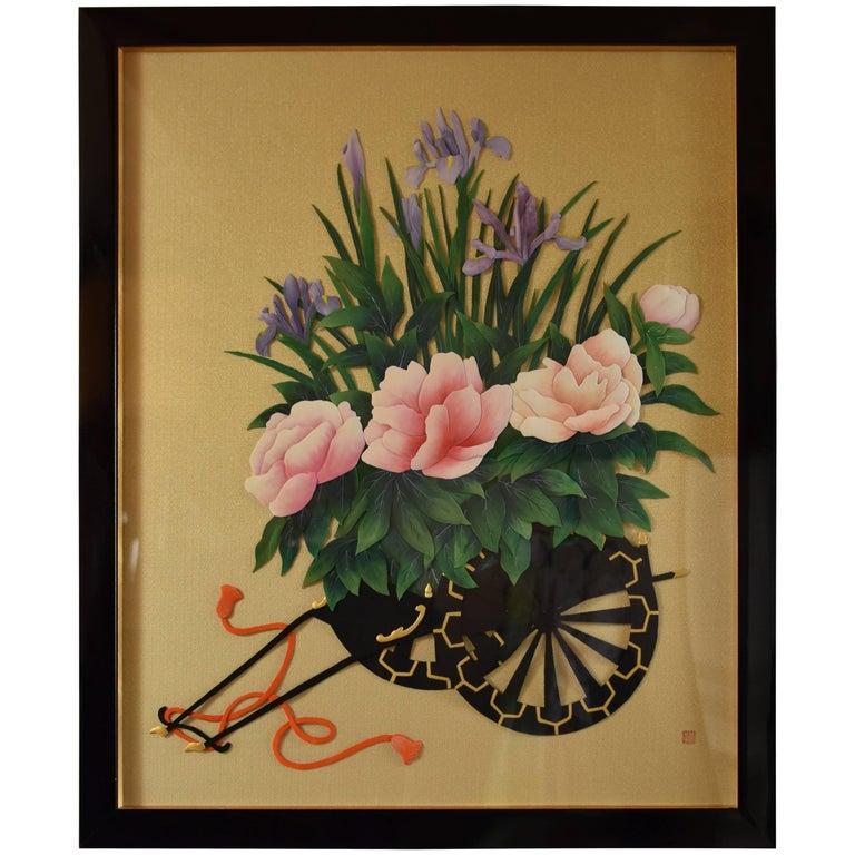 Large Framed Japanese Traditional Silk Wall Decorative Art, circa 1995