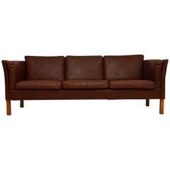 Danish Retro Leather Sofa Vintage, 1960s