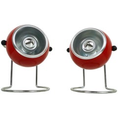 Pair of Red Nightstand Lamps from the 1960s, Germany