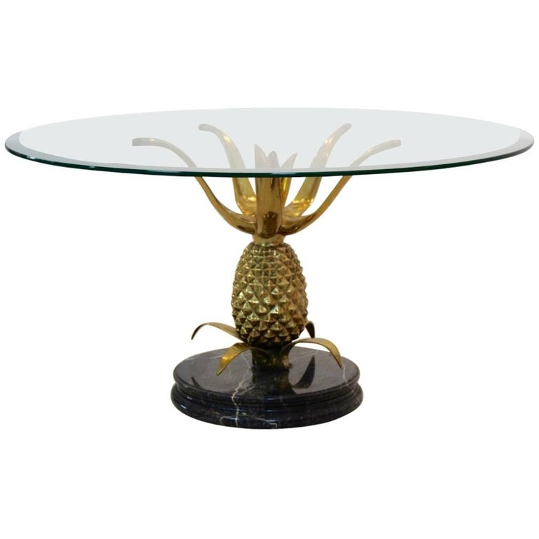 Sculptural Brass, Glass And Marble Pineapple Coffee Table