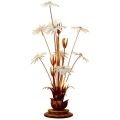 Exotic Hollywood Regency Gilt Floral Floor Lamp by Hans Kögl, Germany, 1970s