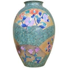 Large Japanese Gilded Porcelain Vase by Master Artist