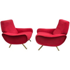 """Pair of """"Lady"""" Armchairs by Marco Zanuso for Arflex"""