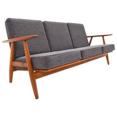 Danish Hans J. Wegner GE-240 Cigar Sofa Oak and Teak Wool, Midcentury, 1950s