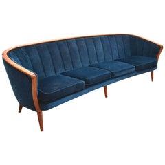 Norwegian Dark Blue Velvet and Teak Four-Seat Sofa, Midcentury, 1950s