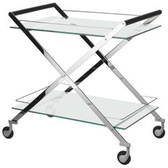 Gallotti and Radice Mister Bar Cart/Trolley in Stainless Steel, Glass and Wood