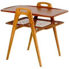 Scandinavian Teak and Rattan Side Table, 1960s