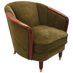 Norwegian Green Fabric Velour and Teak Armchair Midcentury Tub Chair, 1950s