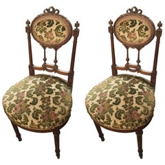 Pair of 19th Century, Louis XVI Hand-Carved Side Chairs