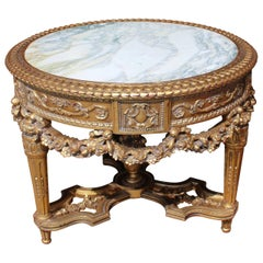 Heavily Carved Giltwood Marble Topped Centre Table