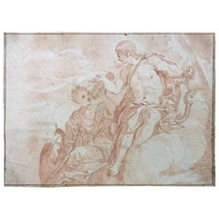 18th Century French Old Master Drawing of Apollo