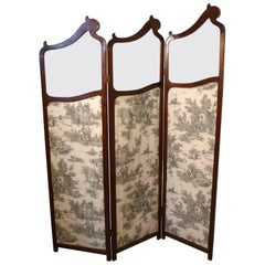 19th Century French Mahogany Upholstered Dressing Screen