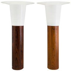 Rosewood Scandinavian Table Lamps by Uno & Osten Kristiansson for Luxus