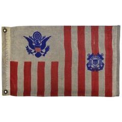 Antique Nautical Flag in White Frame, Coast Guard