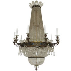 19th Century Empire Gilt Bronze and Crystal Chandelier, 10 + 15 Lights