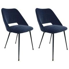 Beautiful Pair of Italian 1960 Reupholstered Blue Velvet Chairs