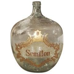 Large Handblown Semillon Demijohn Bottle from France