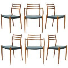 N.O. Moller Dining Chairs in Teak, Set of Six