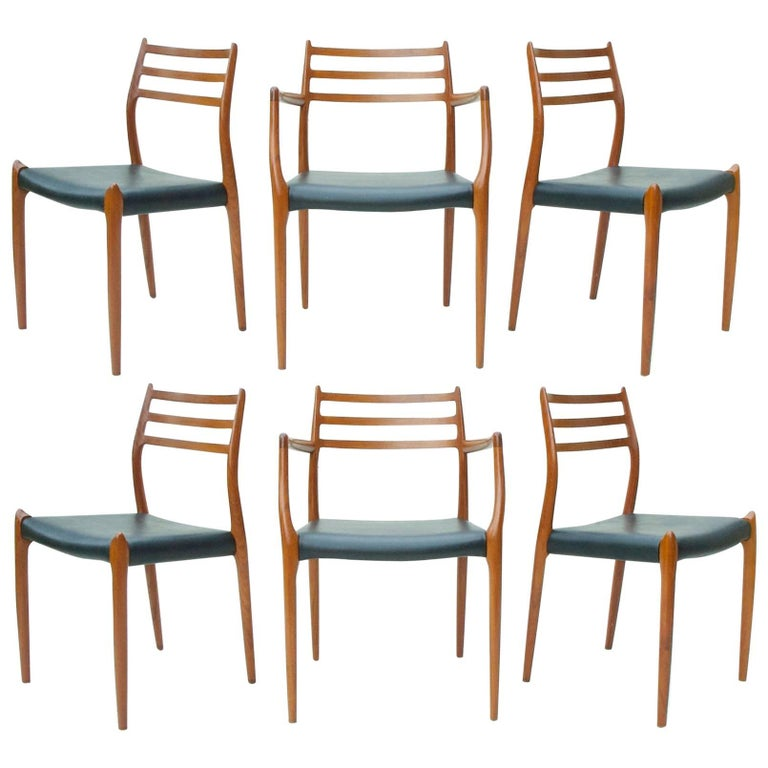 N.O. Moller Dining Chairs in Teak, Set of Six For Sale