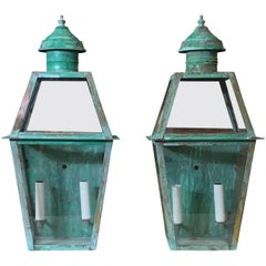 Pair of Large Architectural Copper Wall Lantern