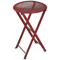 Foldable red metal stool, Germany, 1950s