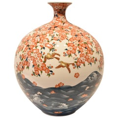 Japanese Hand-Painted Porcelain Vase by Sho-un, Master Artist