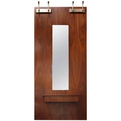 Large New Hope-Style Walnut and Aluminum Wall-Mounted Mirror/Vanity