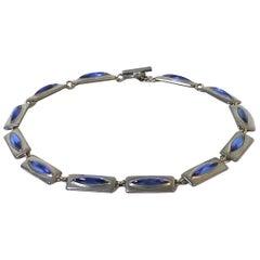 Jorgen Jensen Danish Modernist Blue Cat's Eye Necklace