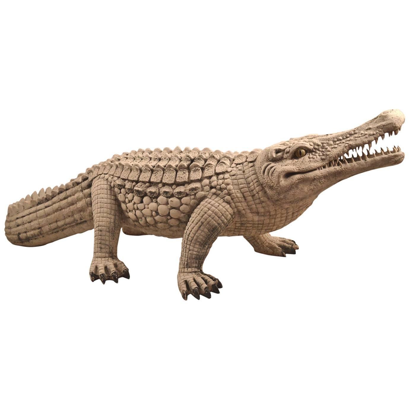 Fiberglass Crocodile in White Paint Surface