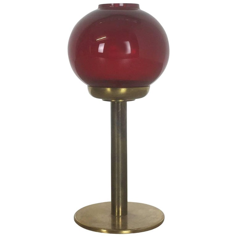 Vintage Red Glass and Brass CandleHolder by Hans-Agne Jakobsson, Sweden, 1950s For Sale