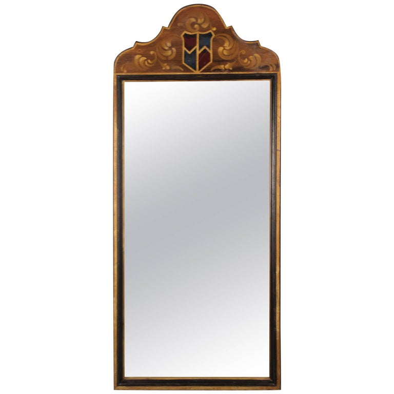 Tall and narrow spanish revival hand painted mirror at 1stdibs for Tall slim mirror