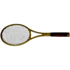 Mid-Century Life-Sized Brass Tennis Racquet Wall Sculpture