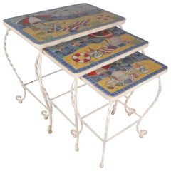 Set of Vintage Tile Top and Iron Nesting Tables with Beach Display