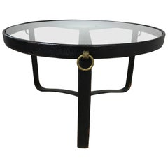 Original Jacques Adnet Stitched Leather Cocktail Table