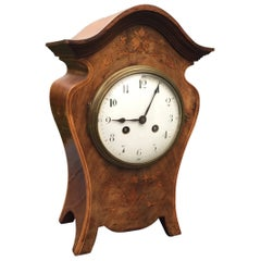 Elegant Art Nouveau Inlaid Nutwood Pendulum / Table Clock with Flower Motifs