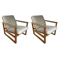 Pair of Børge Mogensen Oak Lounge Chairs