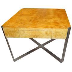 Milo Baughman Burled Olivewood Table