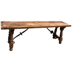 Antique Spanish Hallway Bench or Fireplace Stool Made of Wood and Wrought Iron