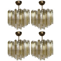 "Four Chandeliers ""Trilobo"" by Venini, 1960"