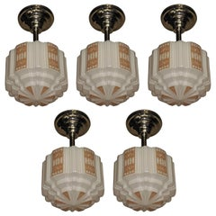 Five 1930s Era Tan Deco Design Church Fixtures