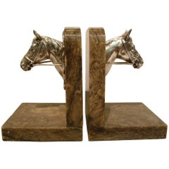 Equestrian Polo Horse Busts Bookends, France, 1930s