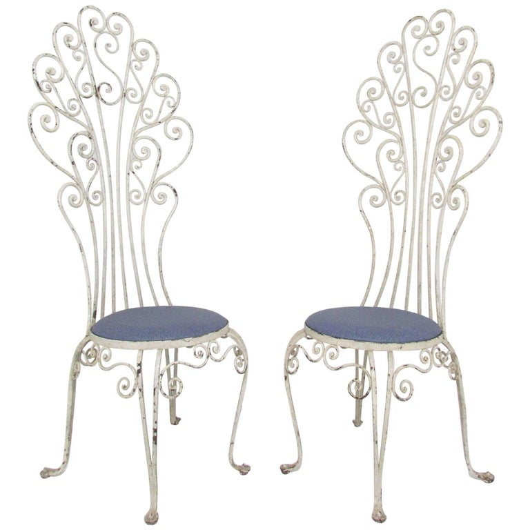 Pair of High Back Peacock Wrought Iron Patio Chairs, circa 1960s