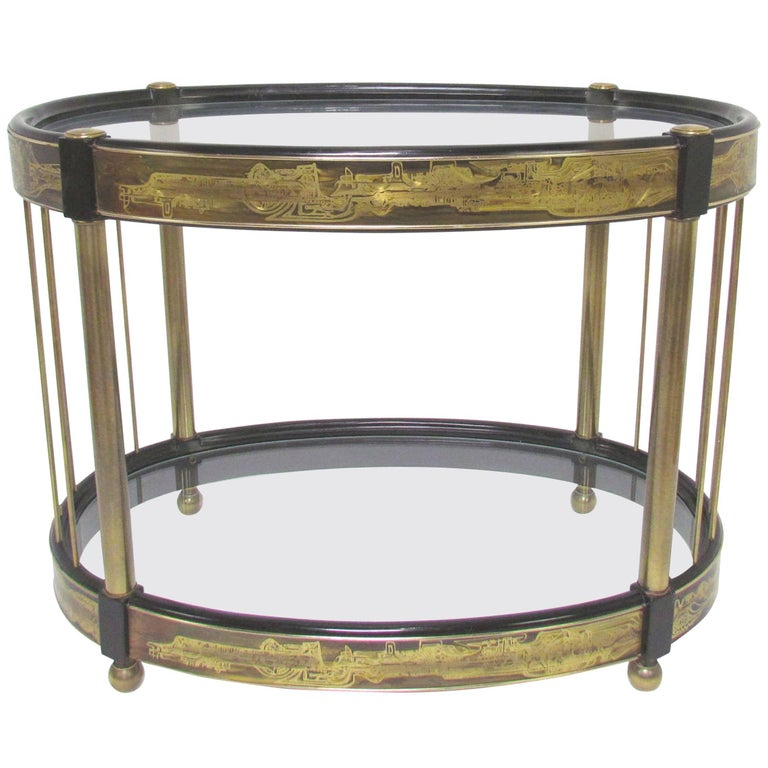Bernhard Rohne for Mastercraft Acid Etched Brass Side Table, circa 1970s