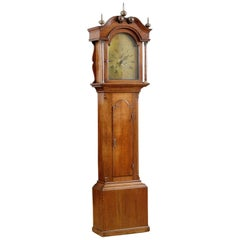 English Case Clock in Oak with 8-Day Movement and Brass Dial, circa 1830