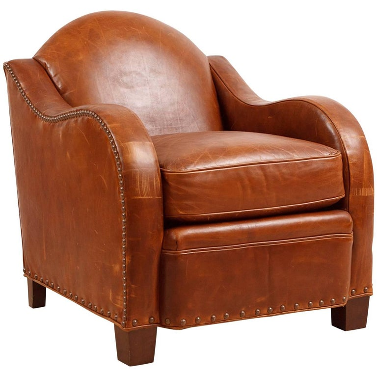 Vintage Art Deco Style Leather Club Chair For Sale At 1stdibs