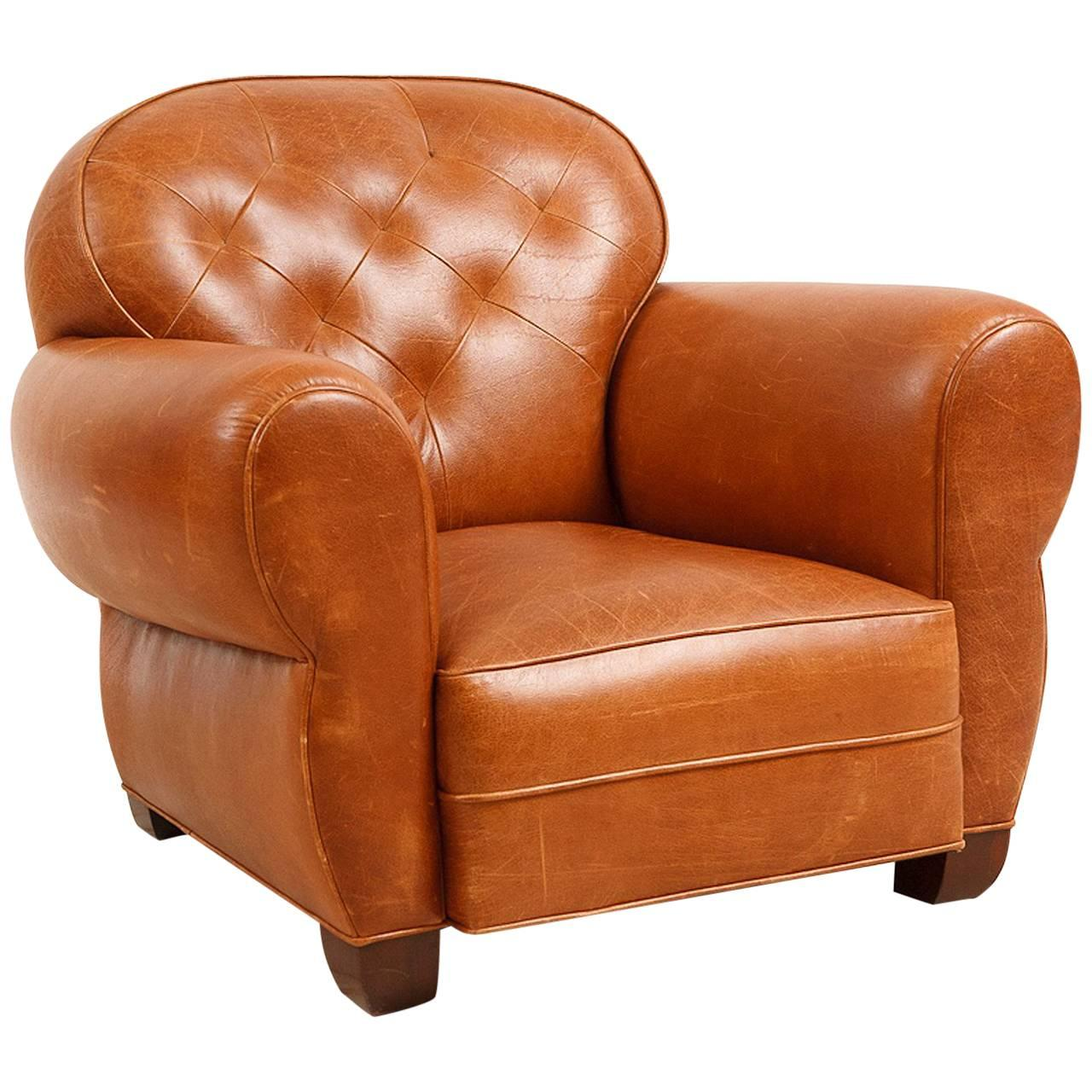 Custom Made Art Deco Style Buffalo Hide Leather Club Chair With Tufted Back  For Sale