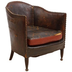 Early 20th Century, French Vintage Art Deco Club Chair Upholstered in Leather